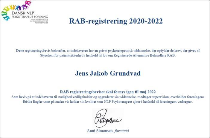 Jens Jakob Grundvad - Rab godkendt Psykoterapeut